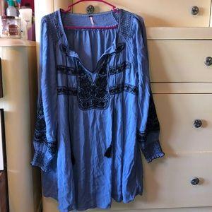 Blue free people tunic/dress